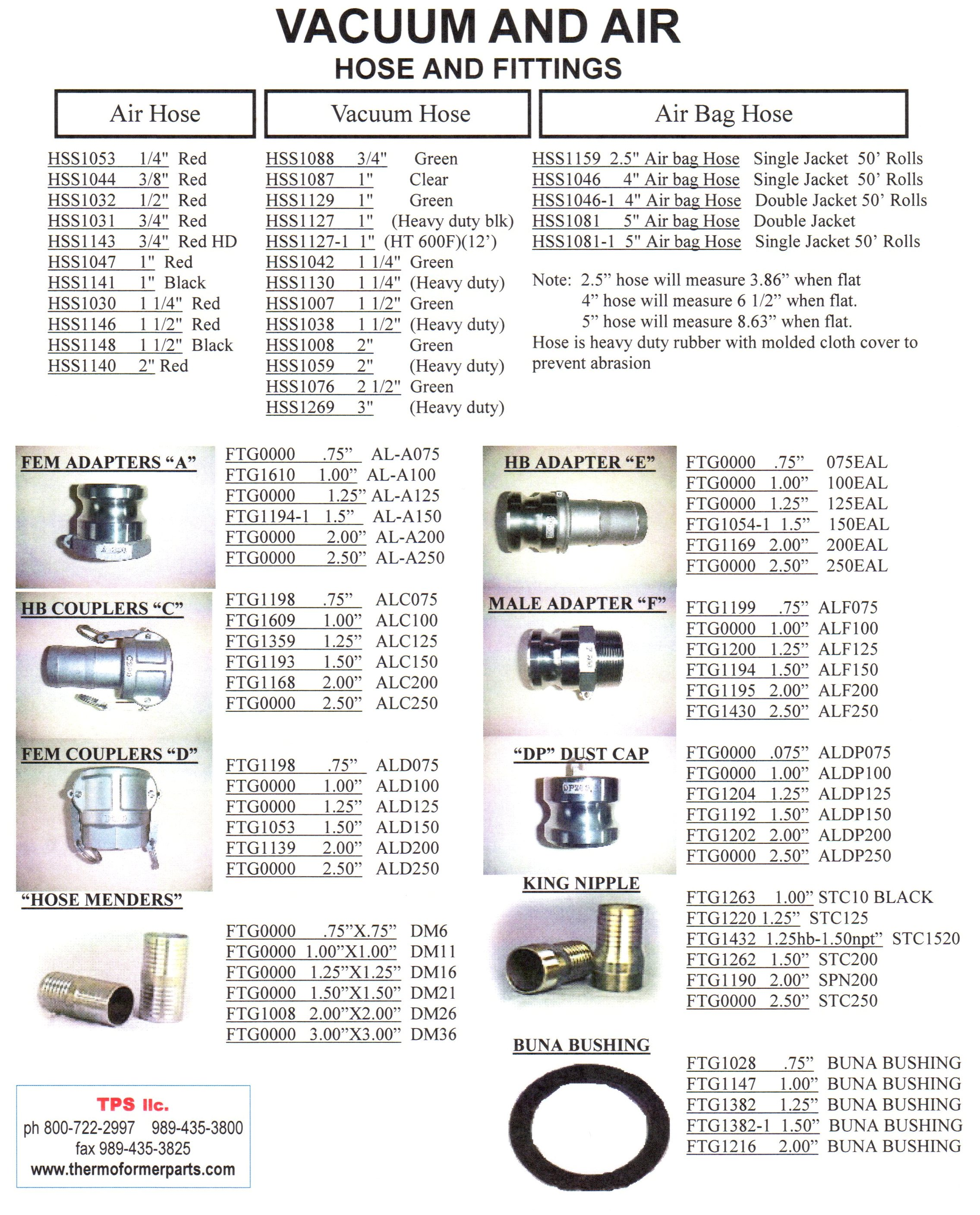 Hoses/Fittings Air/Vac