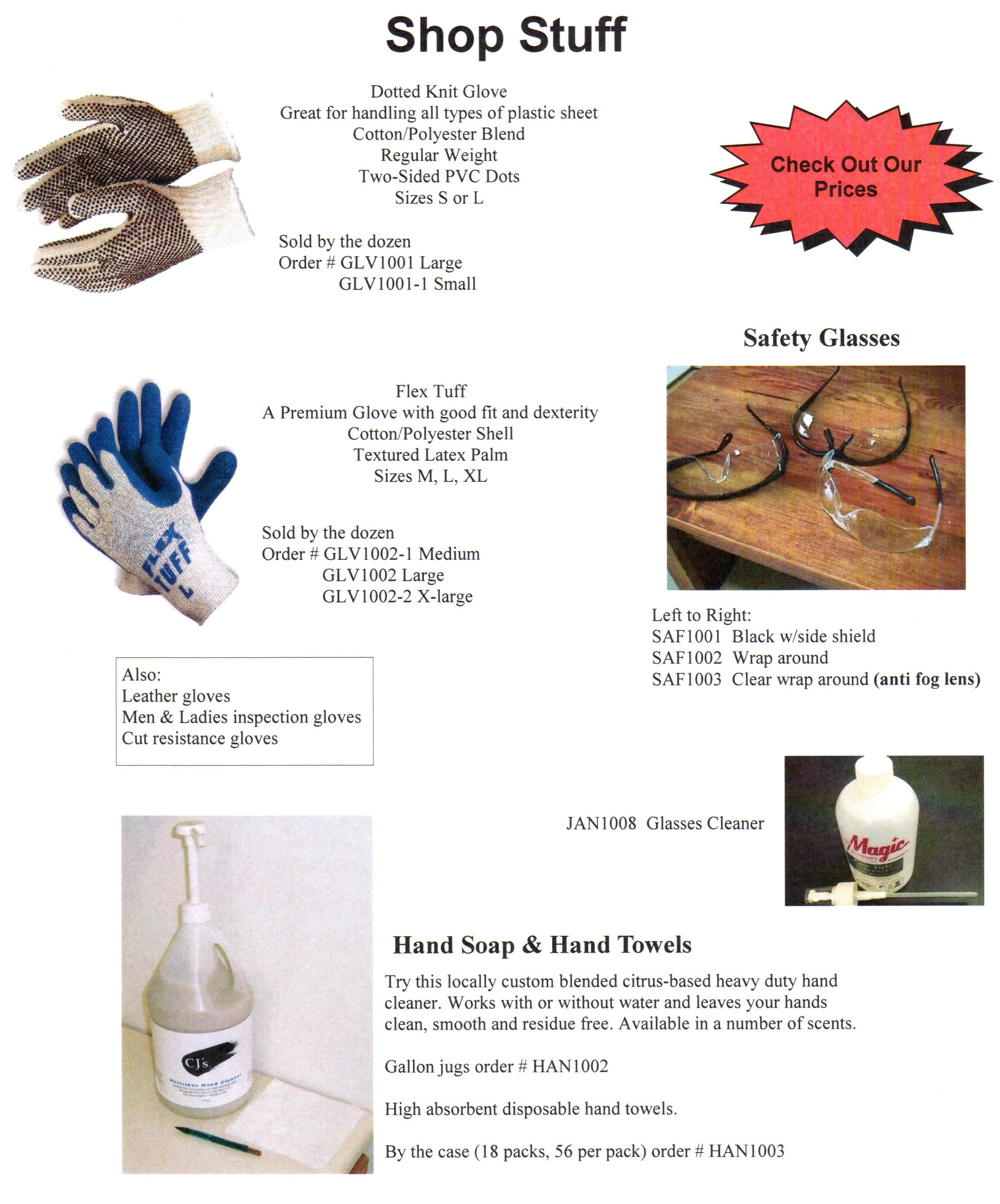 Gloves, Glasses, Hand Soap